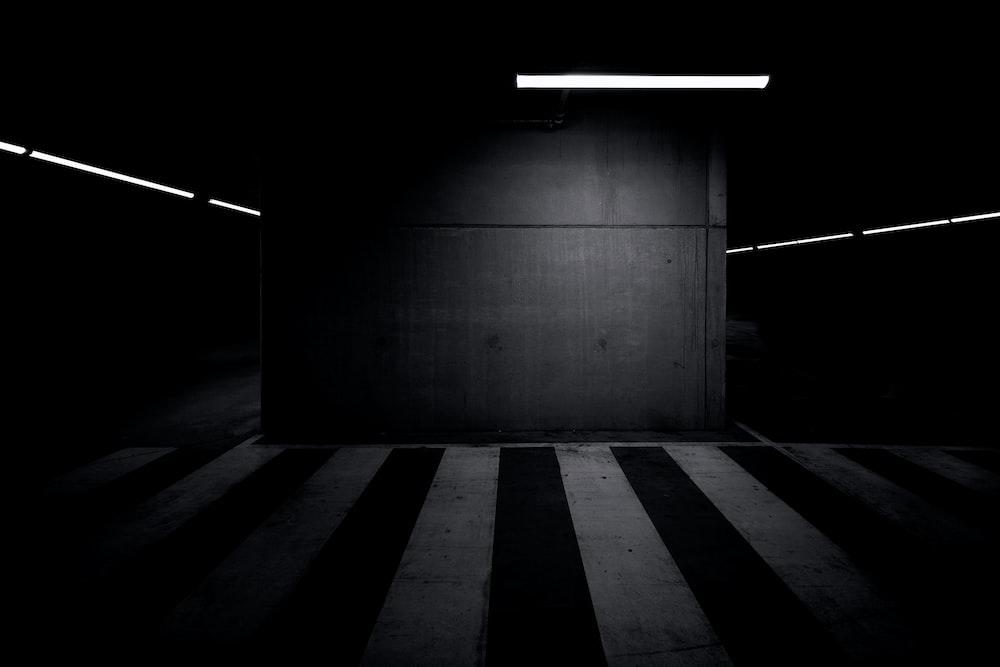 underground parking lot in dim light
