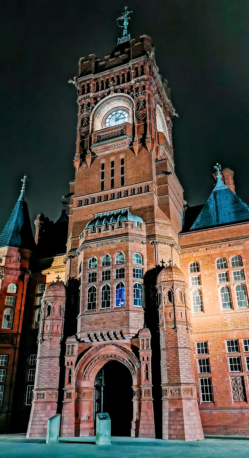 brown tower clock at night