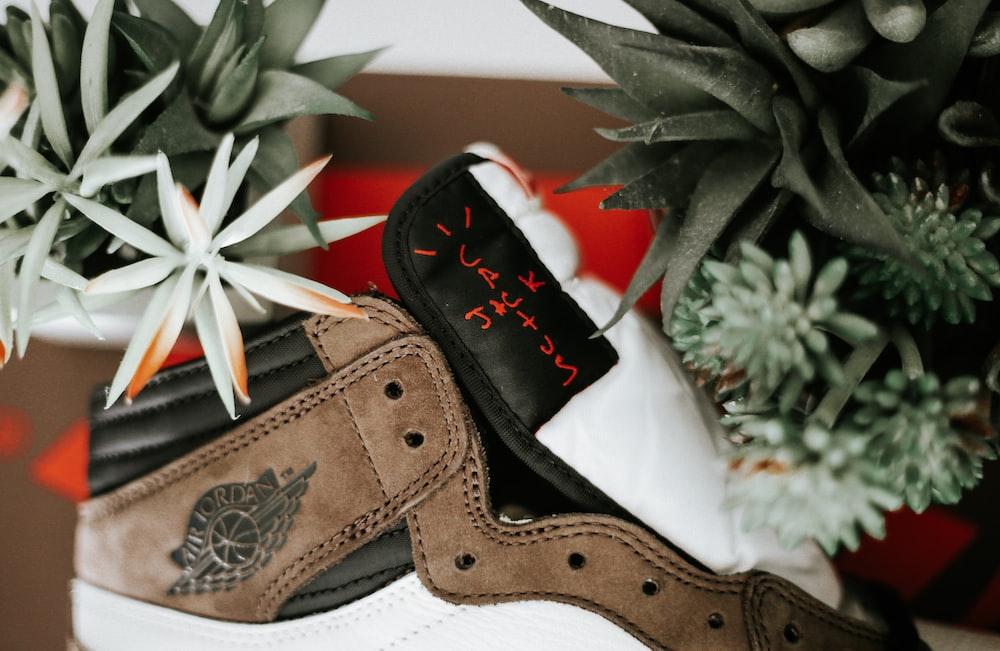 unpaired white, brown, and black Air Jordan 1 shoe
