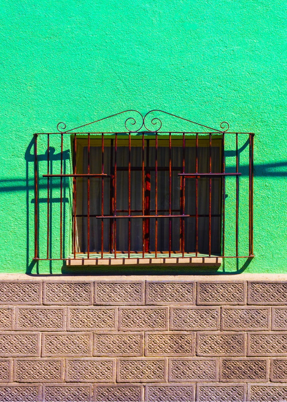 red metal window grille