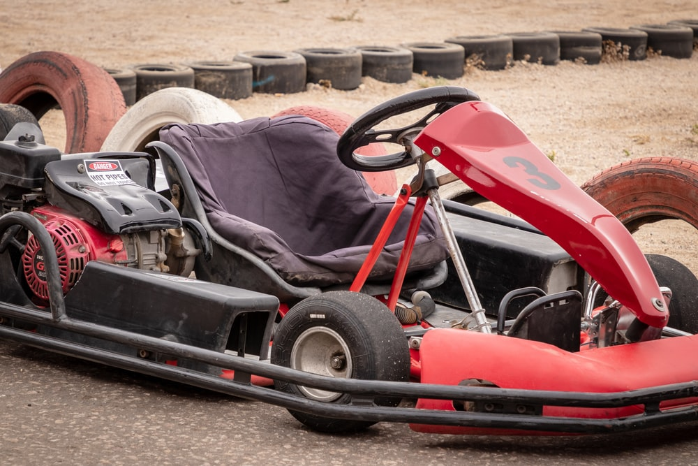 red and black go cart