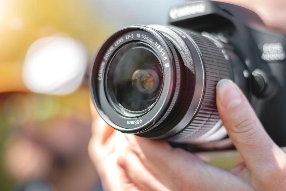black Canon EOS camera