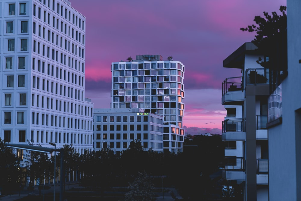 photography of white buildings during nighttime