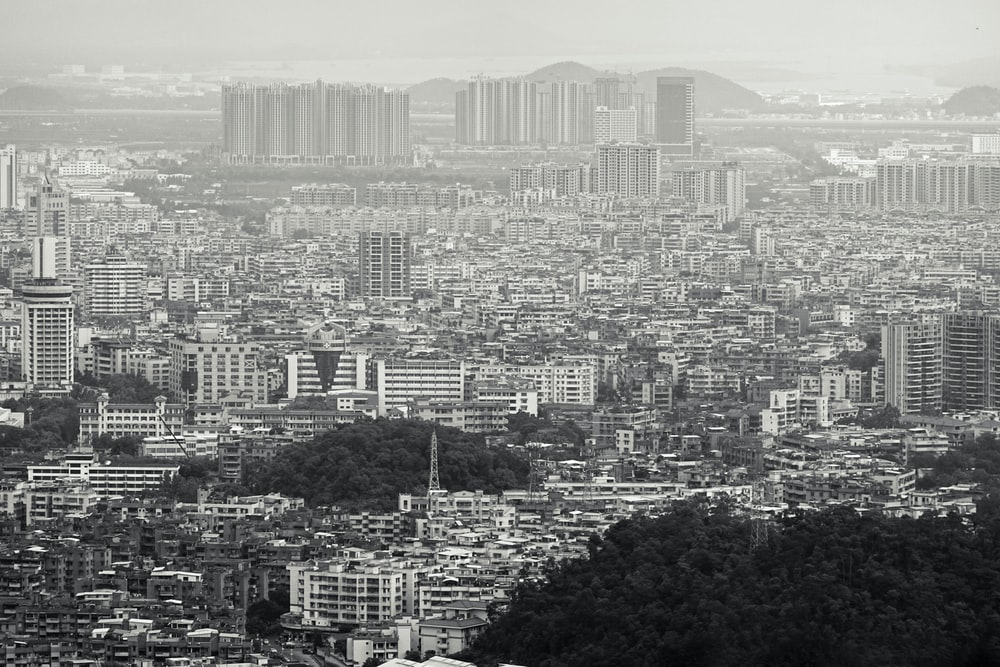 aerial view of city grayscale photo