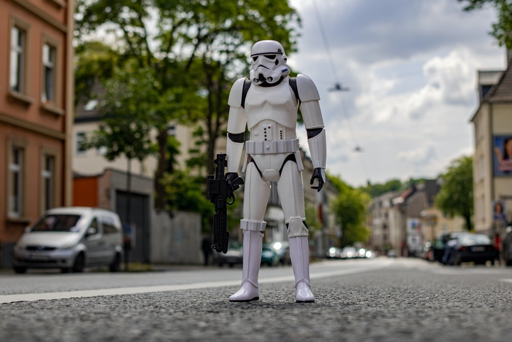 shallow focus photo of storm trooper action figure