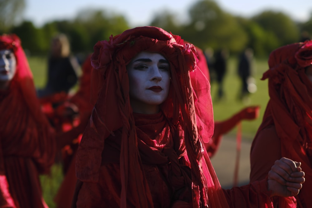 person wearing red costume