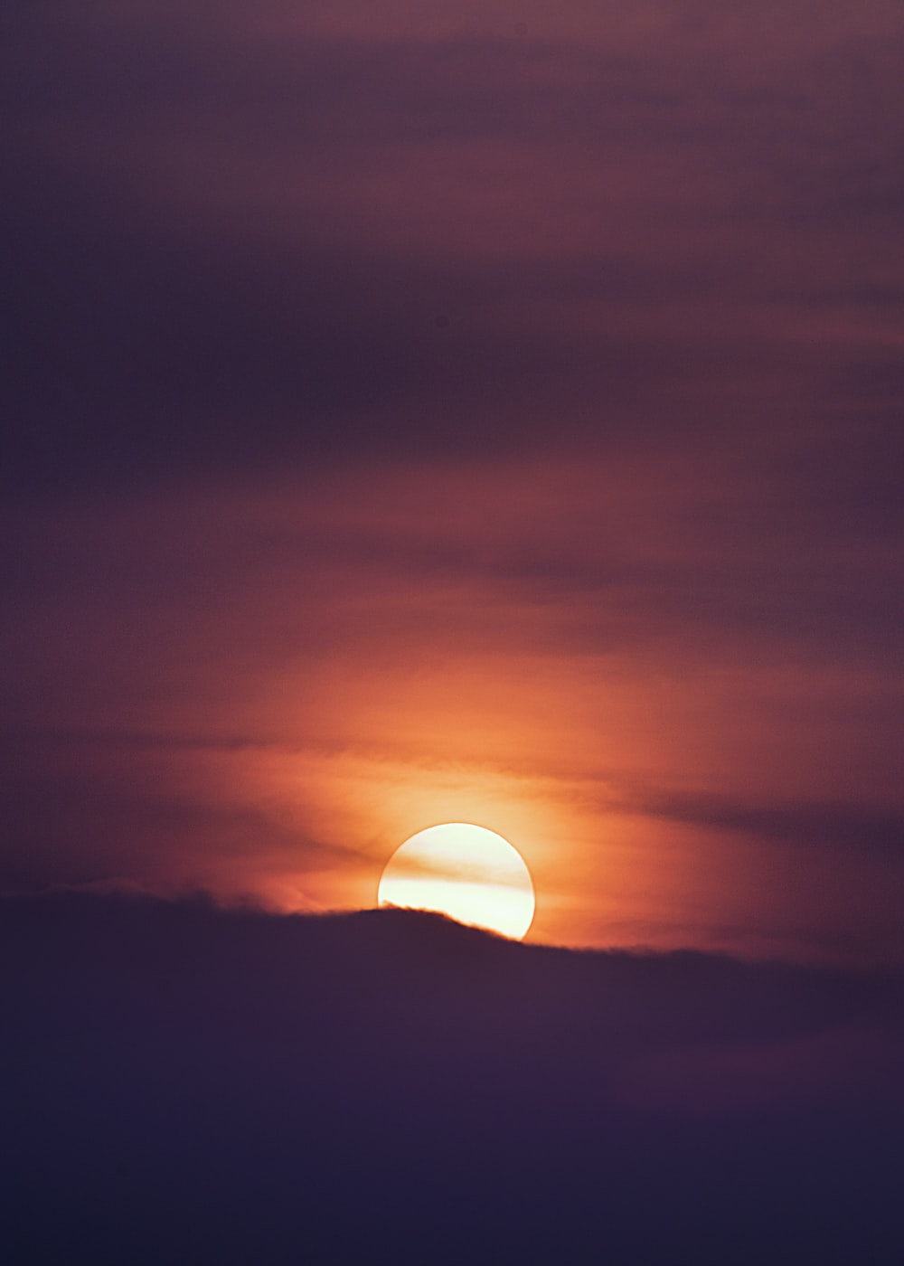 silhouette photography of sunset