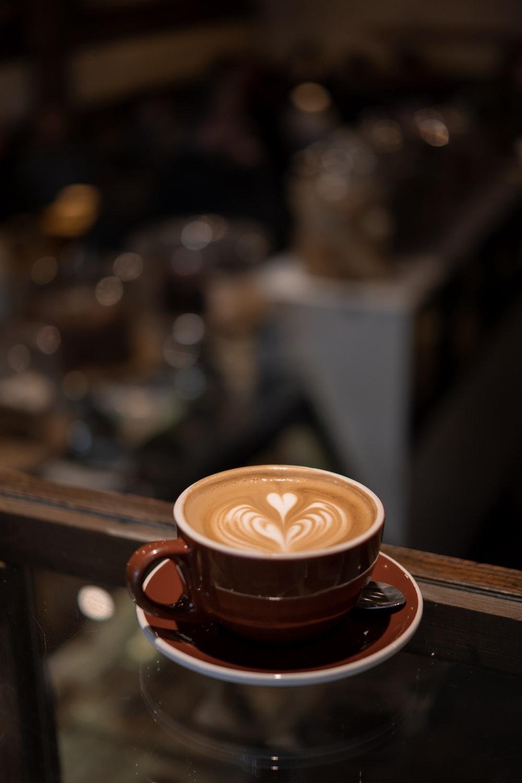 cappuccino in brown mug
