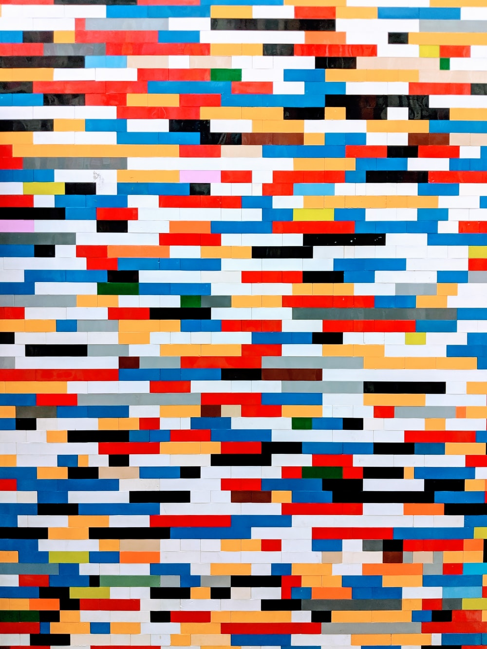 blue, red, and white artwork