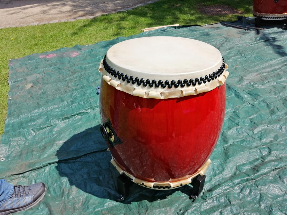 red and white percussion drum