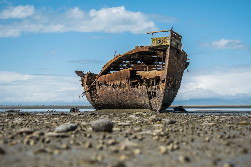 ruined ship on shore