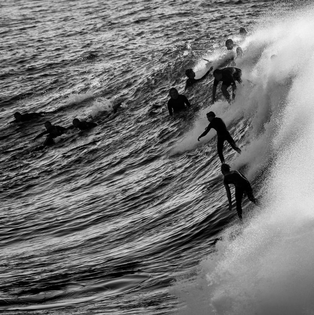 silhouette of surfers during daytime