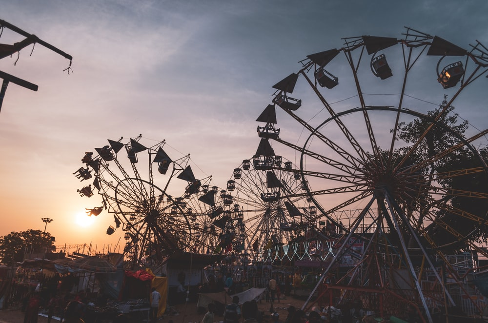 silhouette photography of Ferris wheel