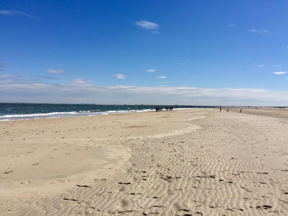 people walking near seashore viewing sea under blue and white skies