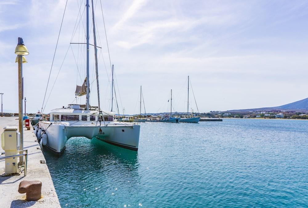 catamaran at dock during daytime