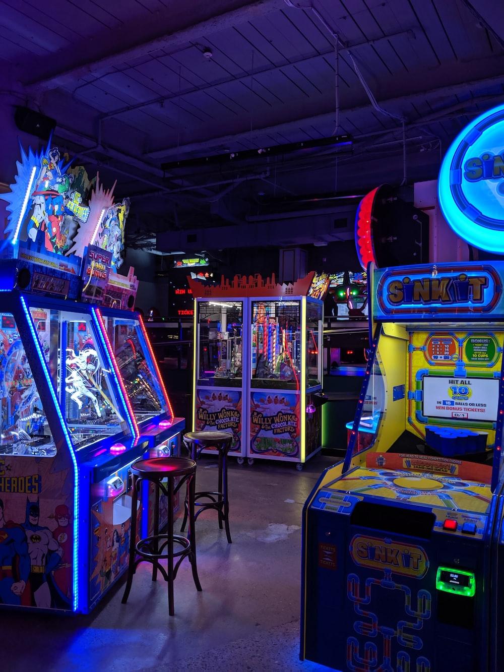 assorted-color arcade machines
