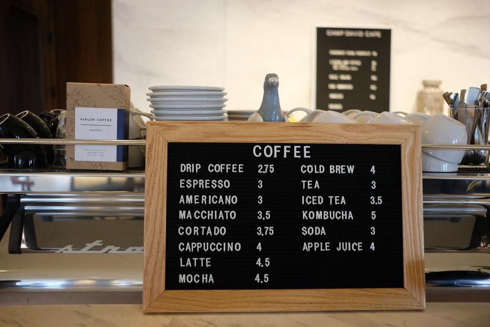 coffee price label sign