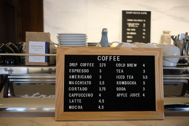 A simple coffee shop menu sits in front of a coffee maker