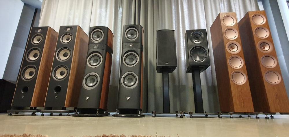 black-and-brown home theater system