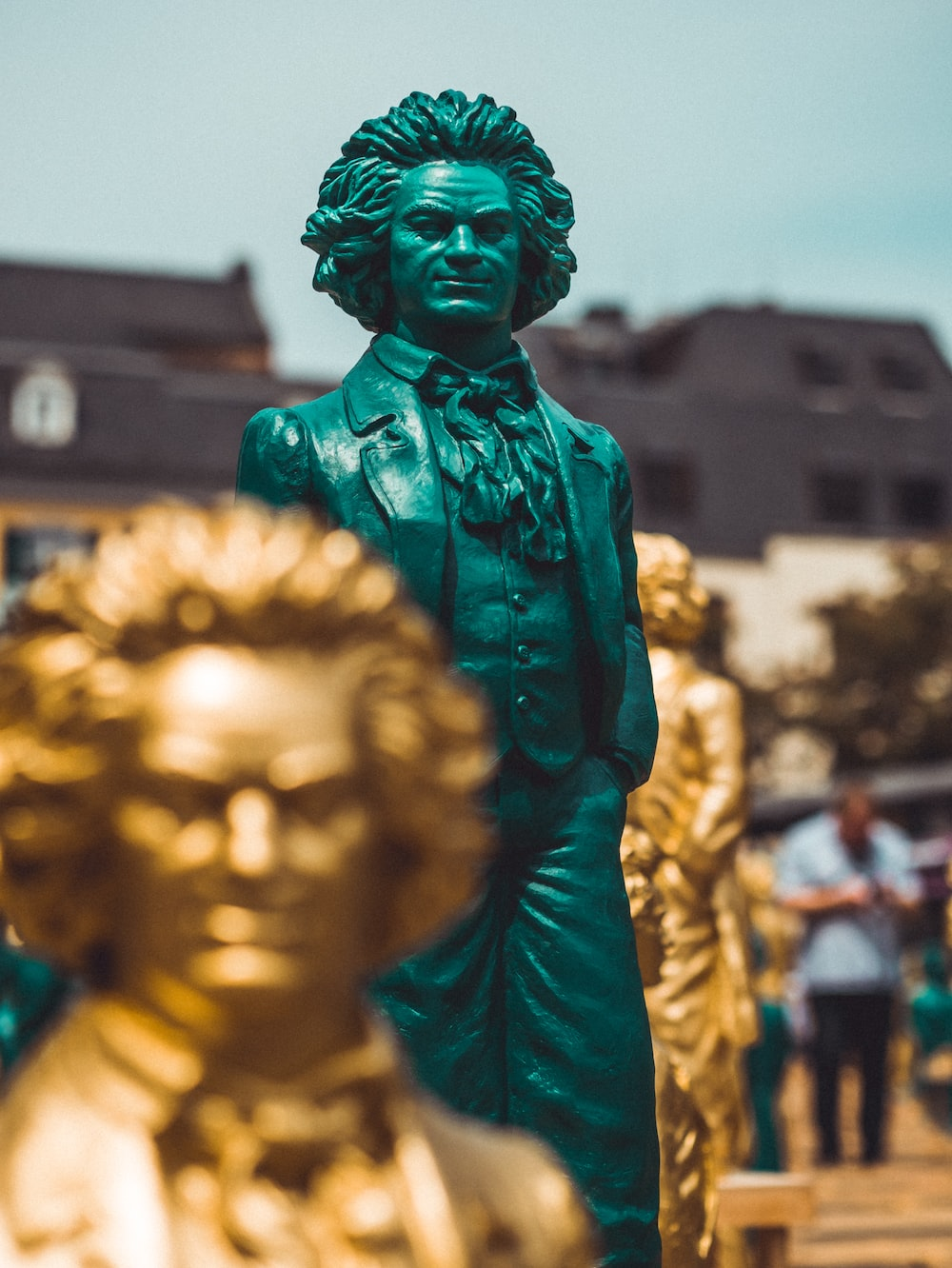 assorted-color Mozart statues