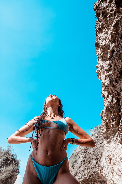 woman near rocks