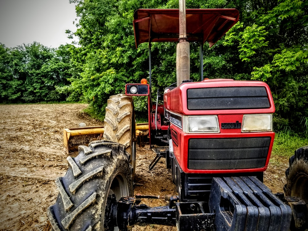 red and black tractor surrounded with tall and green trees