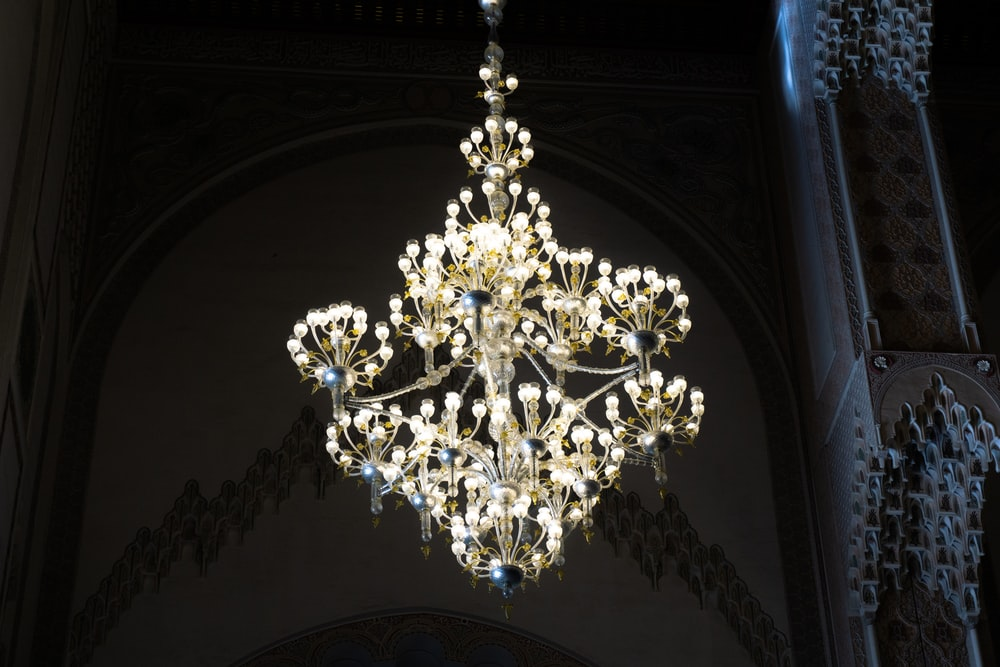 beige uplight chandelier