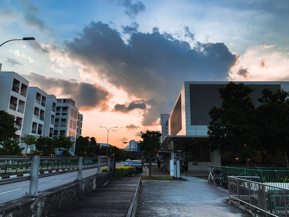 white concrete buildings