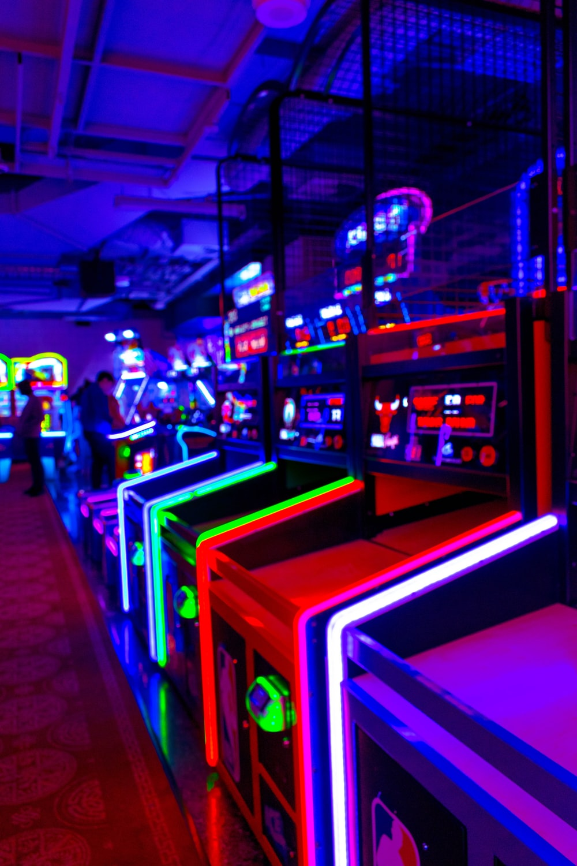 lighted arcade machines