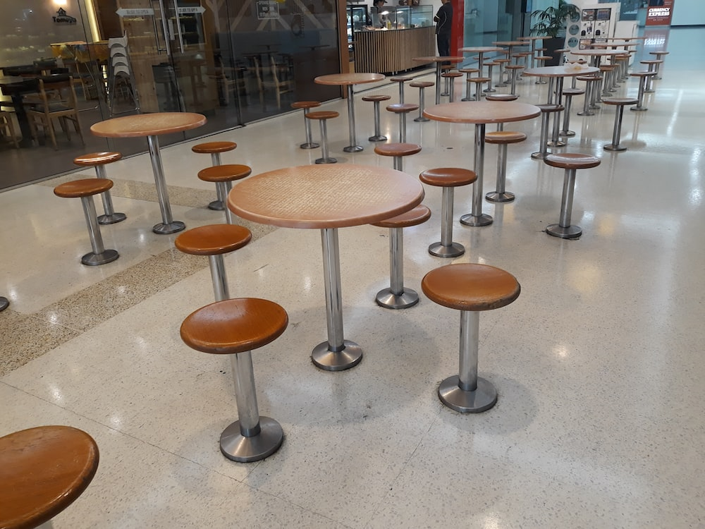 empty brown wooden stools and tables
