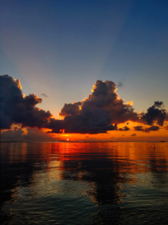 calm water under clouds