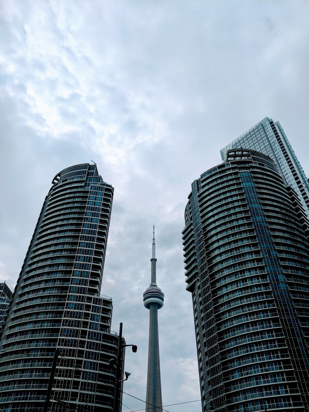 worm's eye view photography of CN tower