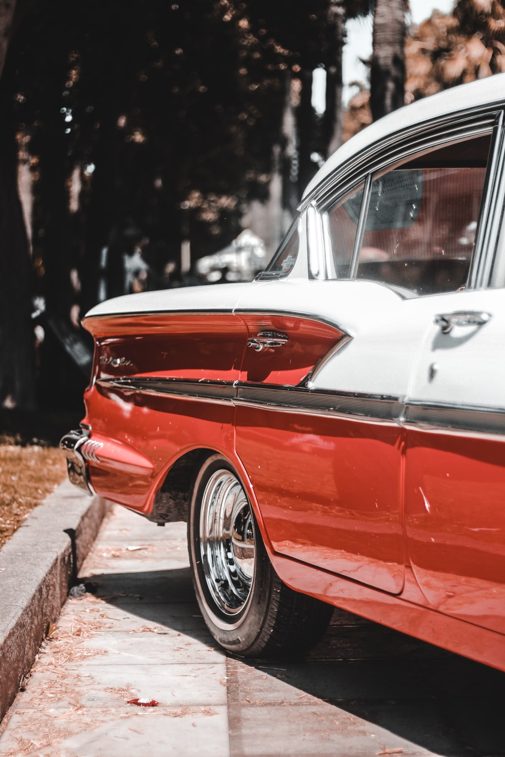 red and white car