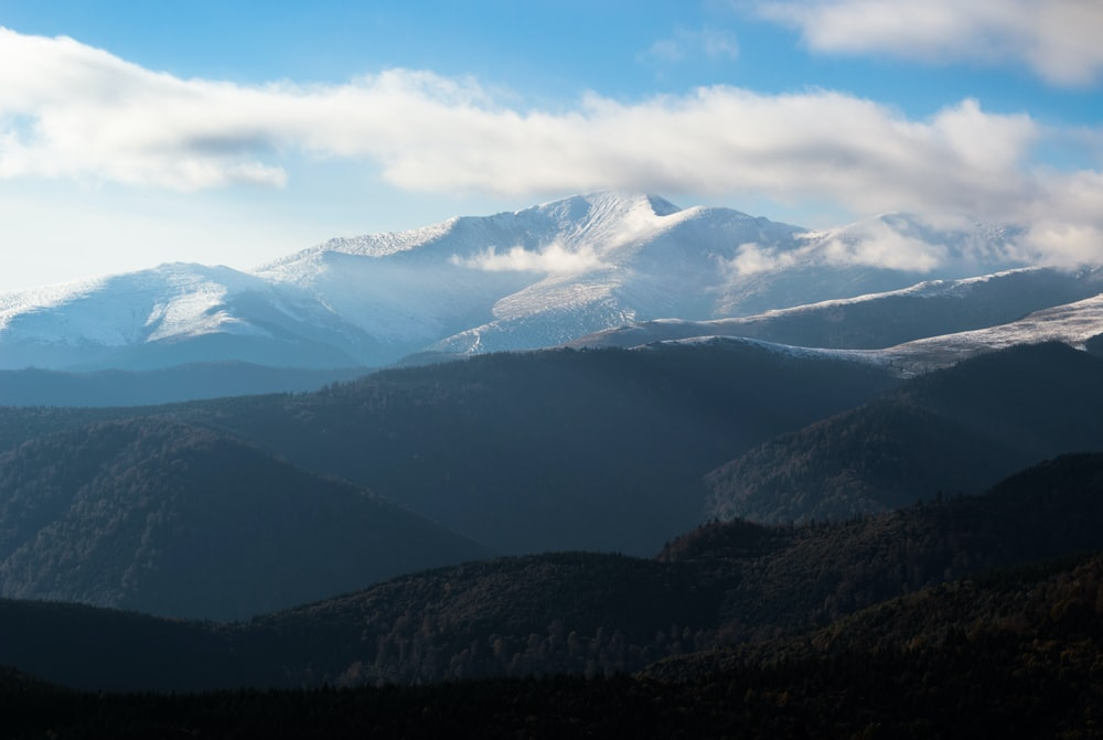 snow cover mountain photography