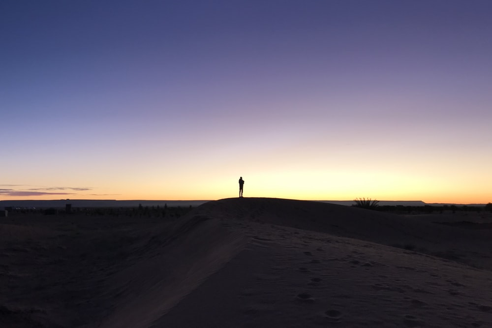 person standing on field under blue and orange skies