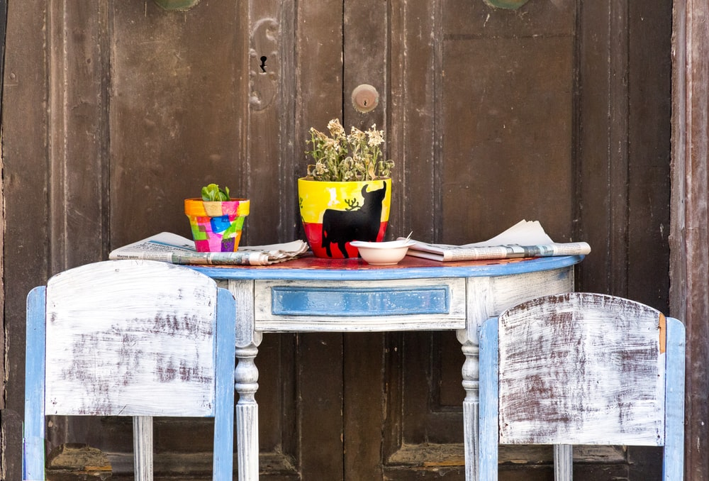 white and blue wooden console table