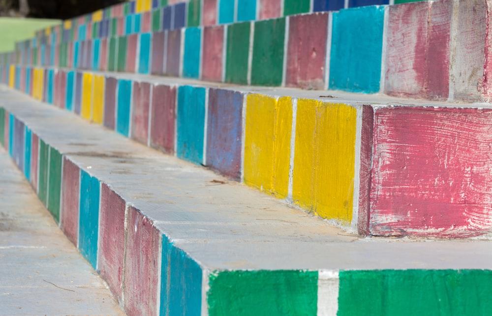 multicolored concrete stairs