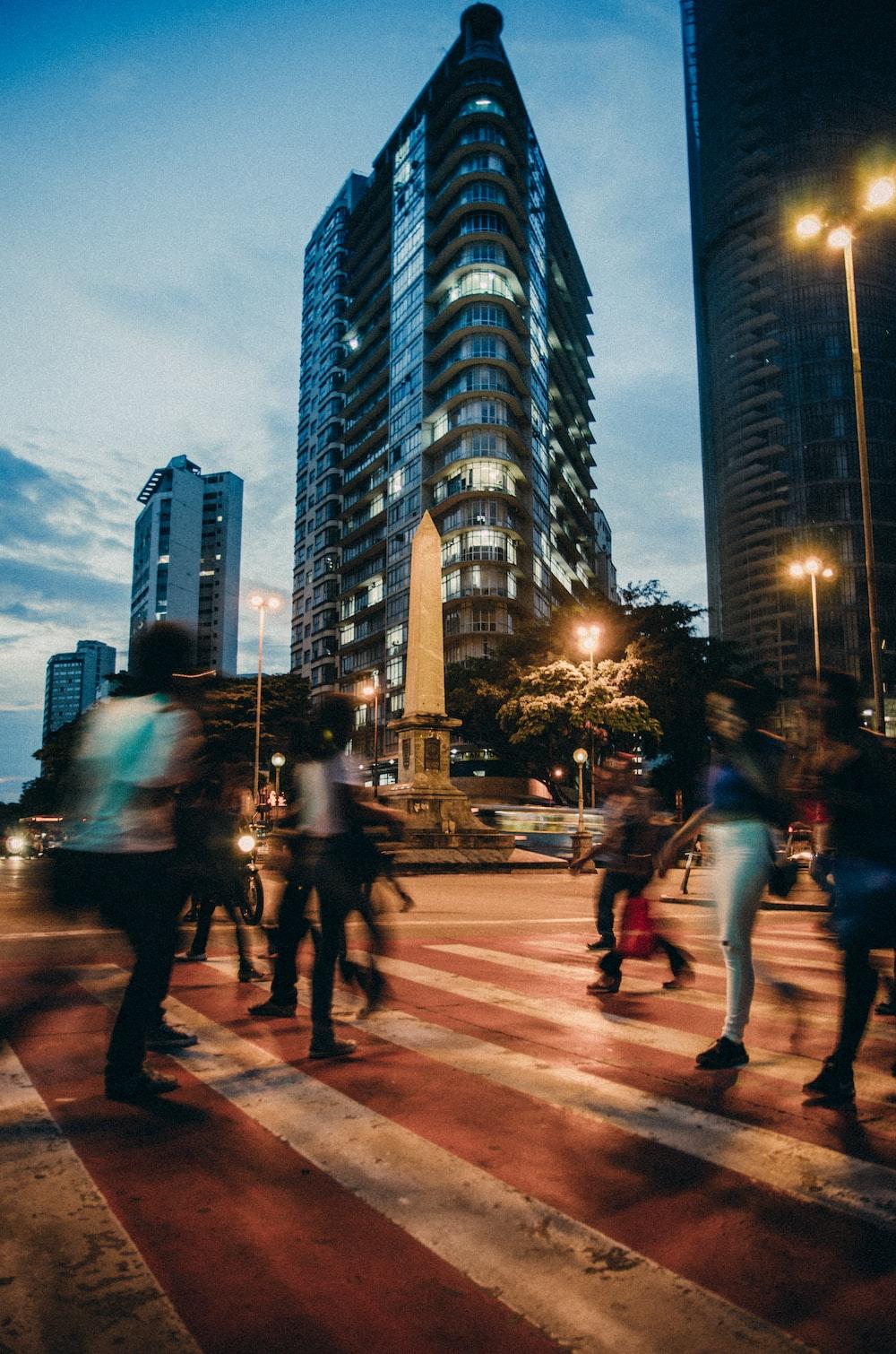 people passing on pedestrian lane
