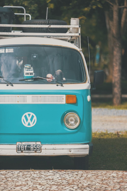 teal and silver Volkswagen van