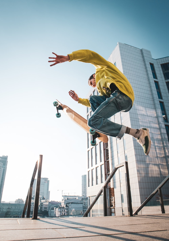 man doing ollie on skate