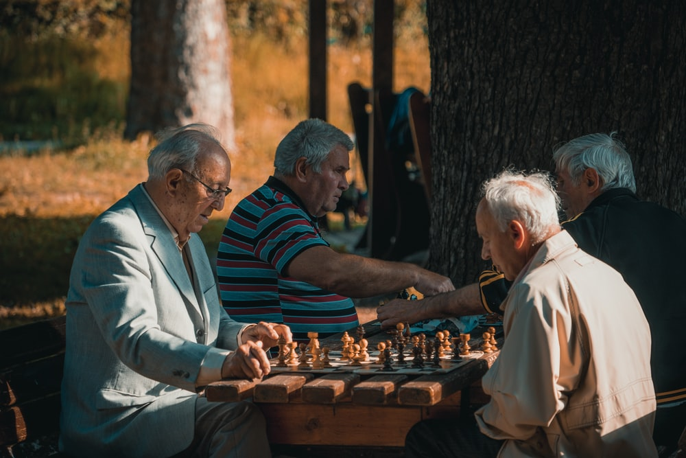 group of men playing chess under trees
