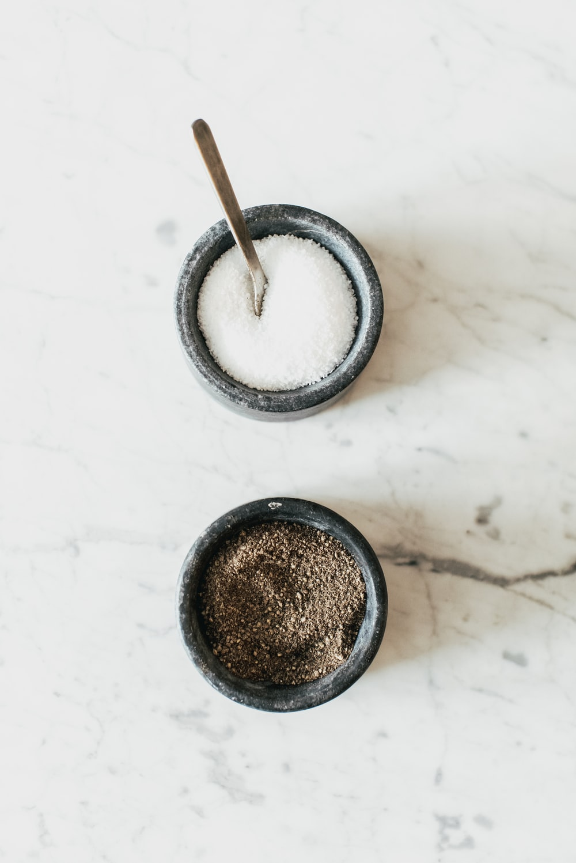 white and black granules in bwols