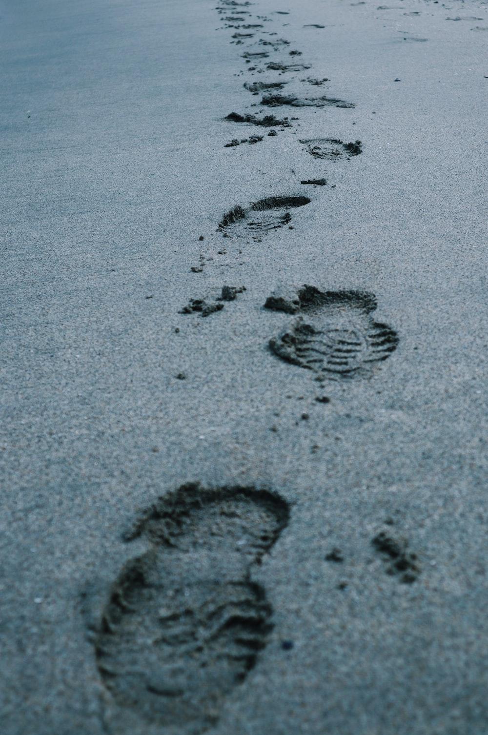 foot prints on sand