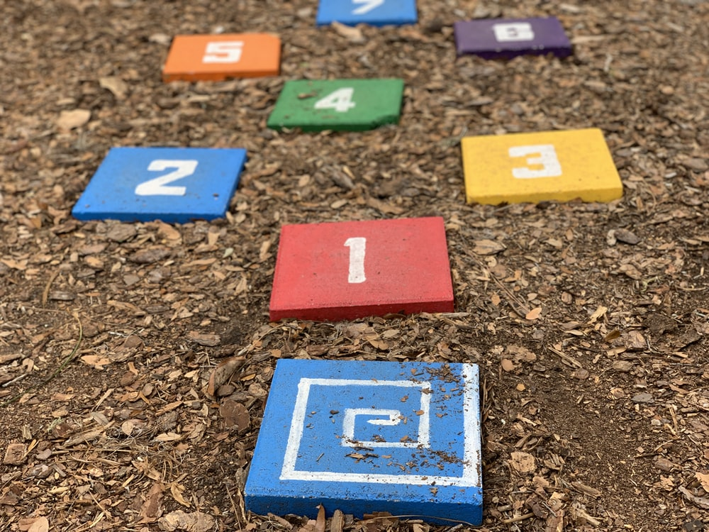 colorful number blocks on ground