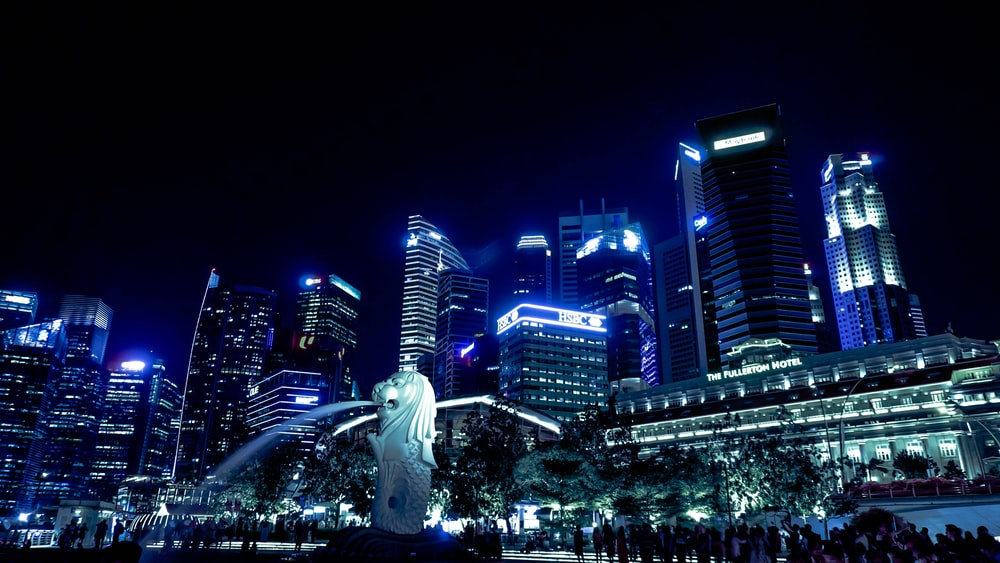 lighted Singapore skyline with view of the Merlion statue
