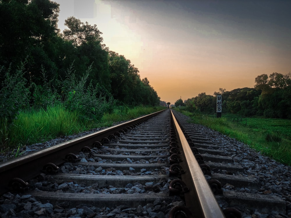 train tracks during golden hour