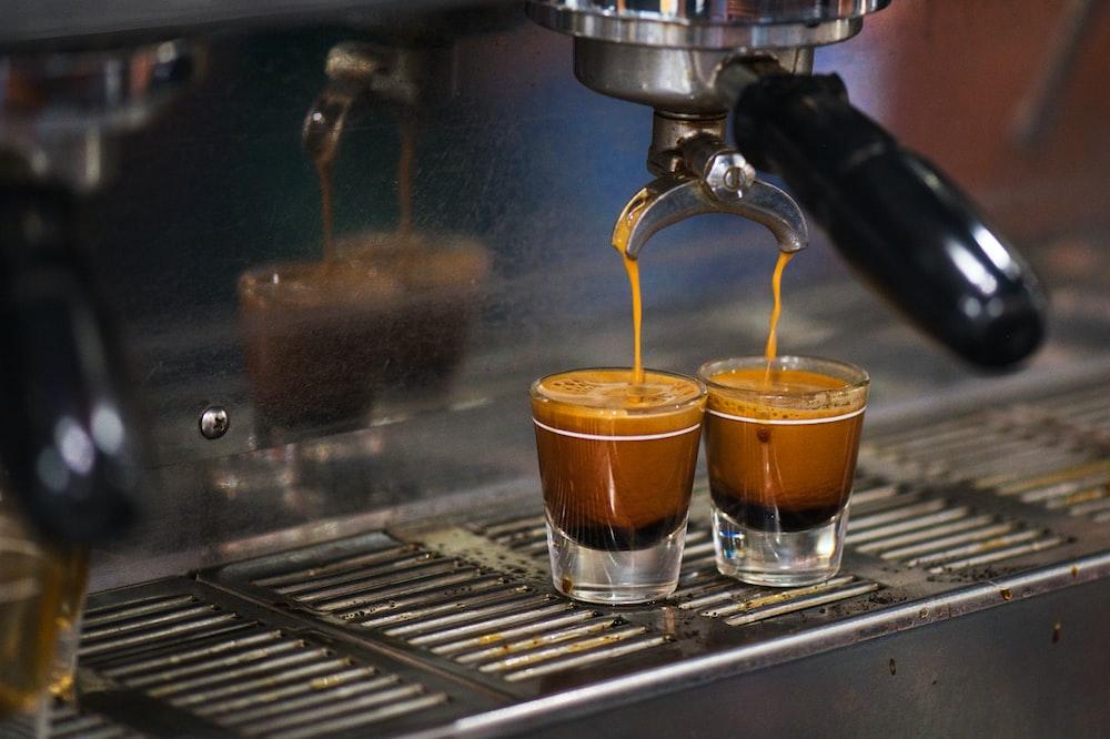 espresso cups on espresso maker