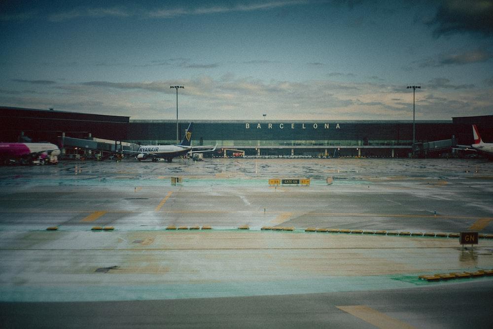 plane station under white clouds