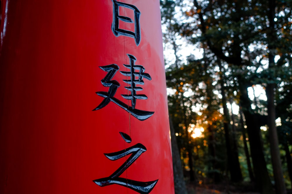 red and black Kanji script on pillar