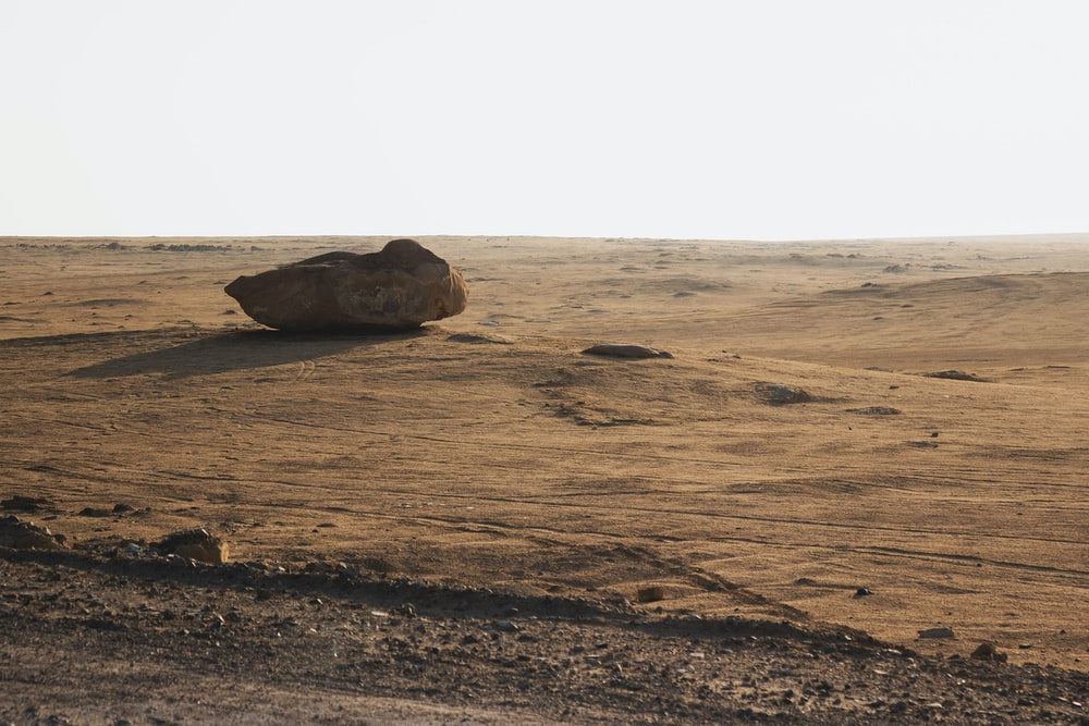 brown rock in middle of desert